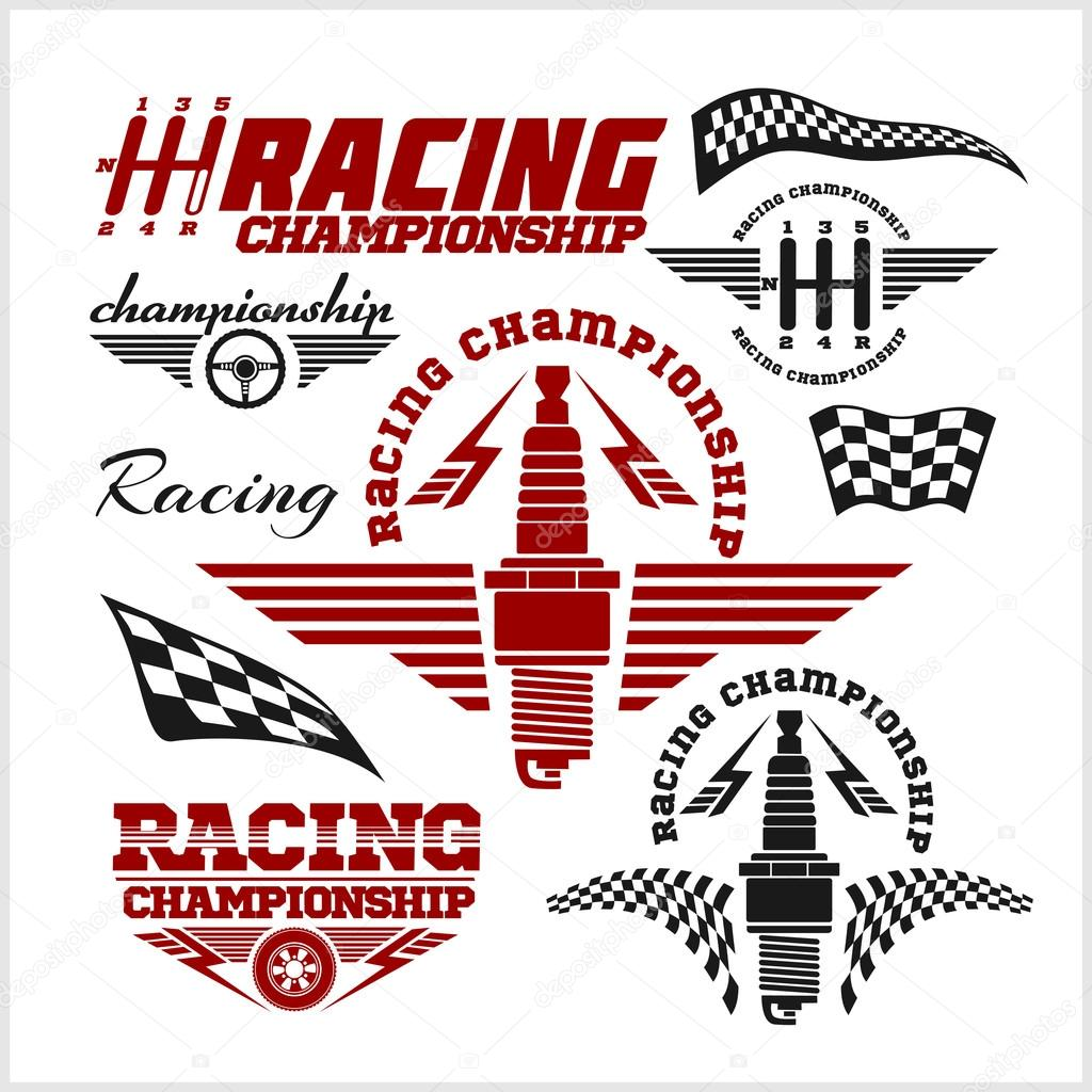 Set Of Car Racing Emblems And Championship Race Vector Badges By Digital Clipart