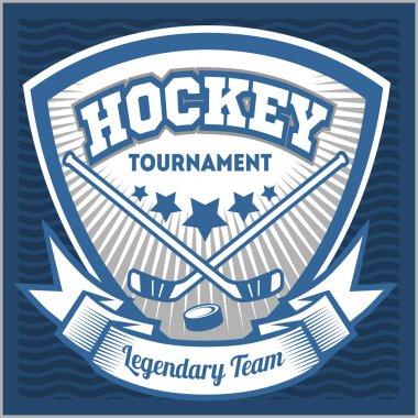 Hockey team logo template. Emblem, logotype template, t-shirt apparel design. Sport badge for tournament or championship.