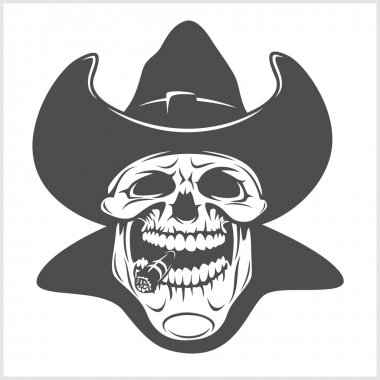 Skull in cowboy hat - gangster