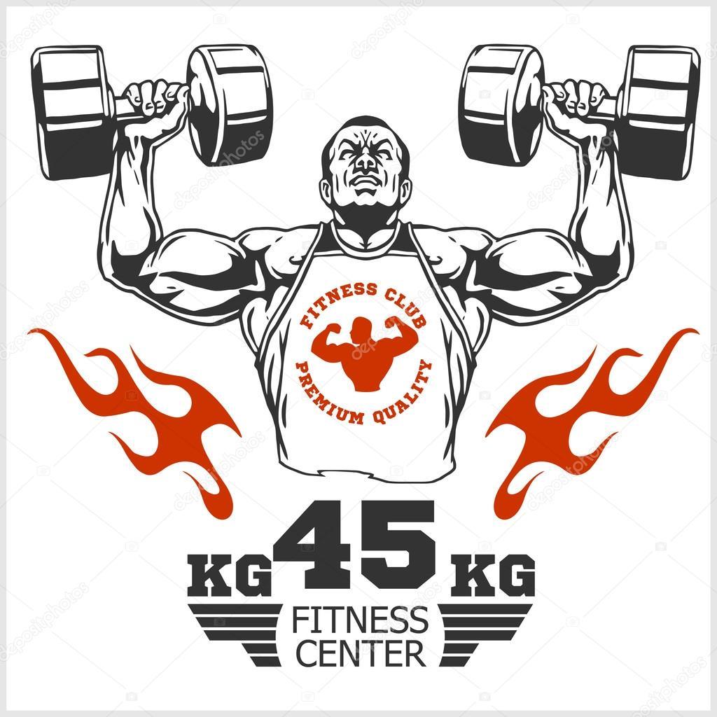 Bodybuilder e bodybuilding fitness logos emblemi icone for Scarica clipart
