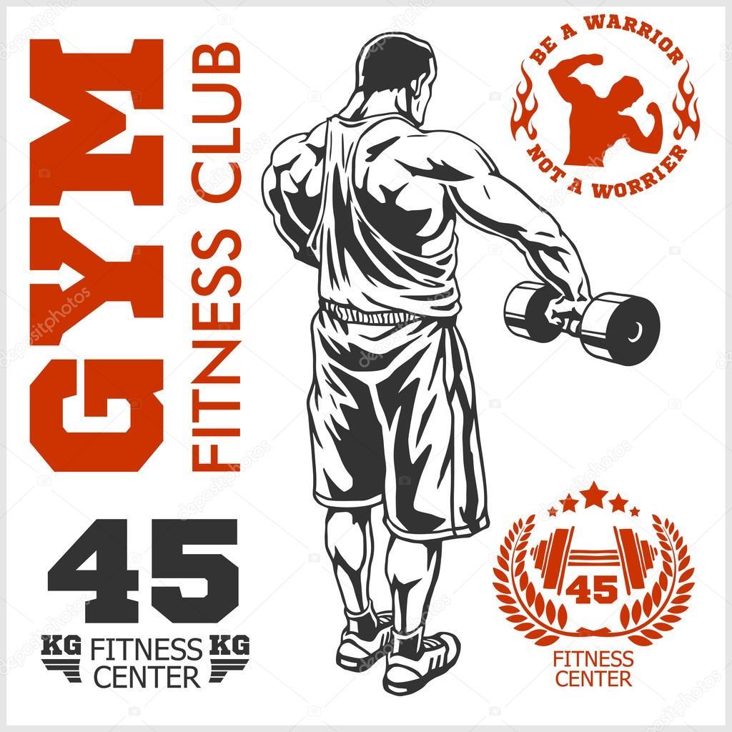 bodybuilder and bodybuilding fitness logos emblems sports