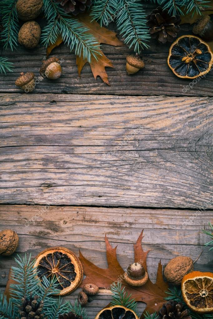 Weihnachten Hintergrund Zweige Dekorationen Geschenke Natur ...