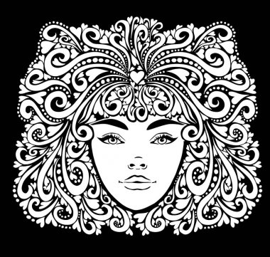 The stylized face of a beautiful girl full-face. Vector illustration icon