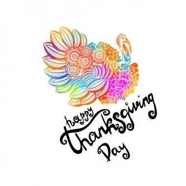 Hand drawn Happy Thanksgiving lettering typography poster. Celebration quote on textured background for postcard, icon, logo, badge. Autumn vector calligraphy text on watercolor background icon