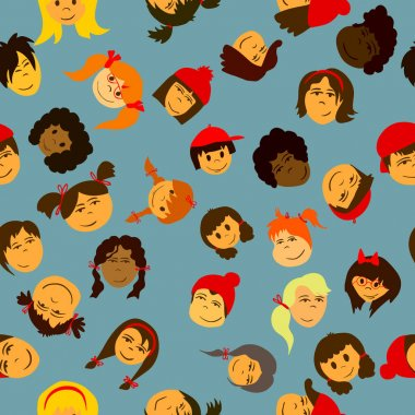Children faces seamless pattern. Vector icon