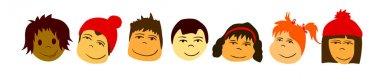 Set of People Faces. Vector icon