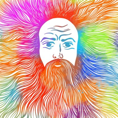 Graphic face of a bearded and long-haired man. t-shirt design. Vector illustration