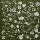Fotografie Strichmännchen Gesichter auf Schulträger