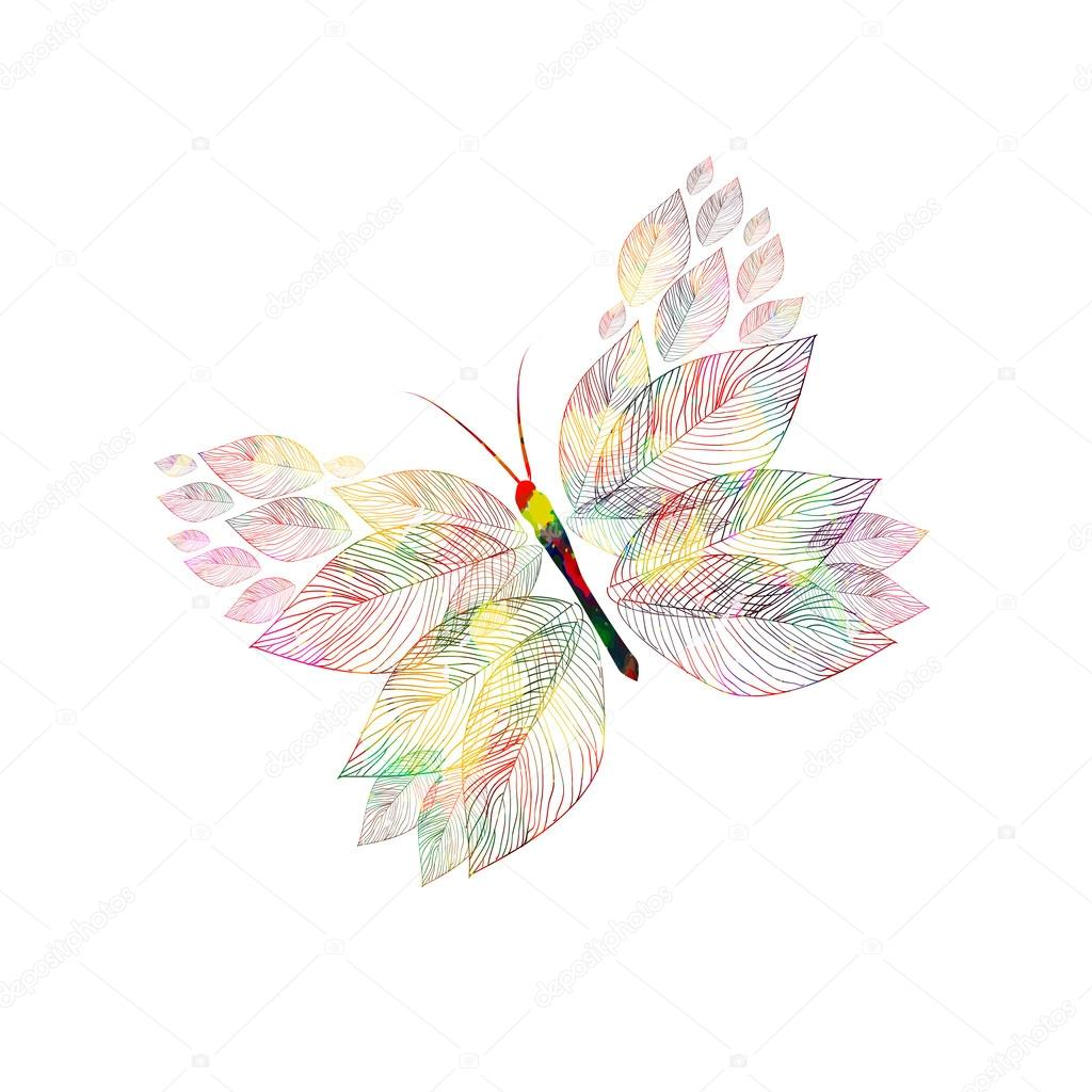 Watercolor abstract butterfly