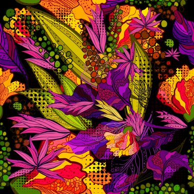 Seamless background of bright rainbow colored flowers. Vector clip art vector