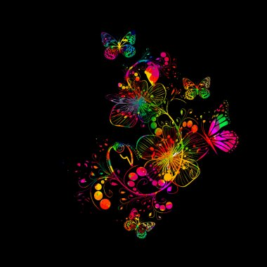 Rainbow watercolor floral abstraction with butterfly. Vector clip art vector