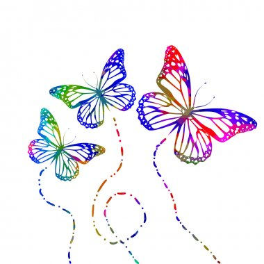butterflies flying silhouettes