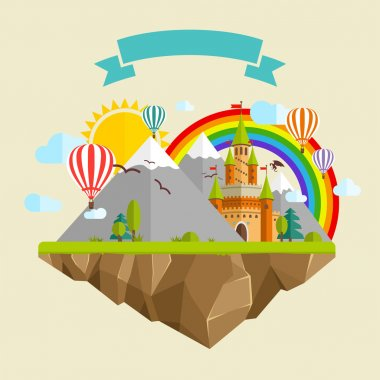 Flying island with Fairy Tale Castle, Balloons, Mountains, Clouds, Trees, Sun, Rainbow, Dragon and Ribbon