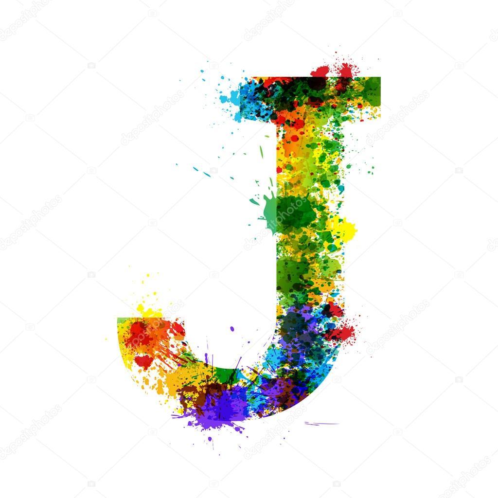 Color Paint Splashes Gradient Vector Font Watercolor Designer