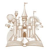 Fényképek World mesék, mesebeli kastély jelenik meg, a régi könyvet, rajzfilm vektoros illusztráció. Mono-line art