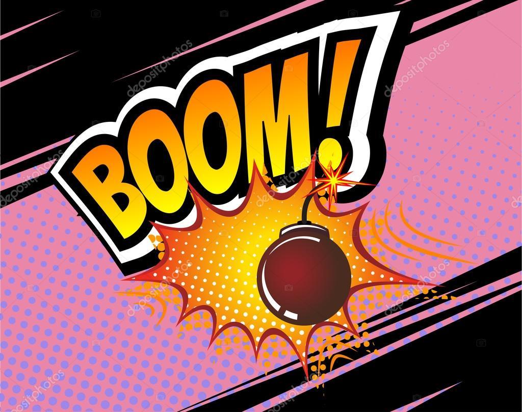 Boom Vector Retro Bd Bulle Modele De Dessin Anime Comics