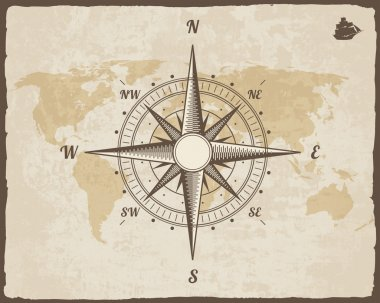 Vintage Nautical Compass. Old World Map on Vector Paper Texture with Torn Border Frame. Wind rose. Background Ship Logo Silhouette
