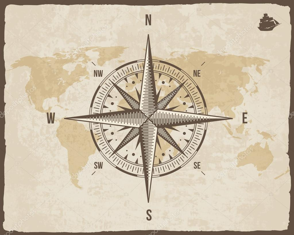 Vintage nautical compass old world map on vector paper texture with vintage nautical compass old world map on vector paper texture with torn border frame gumiabroncs Image collections