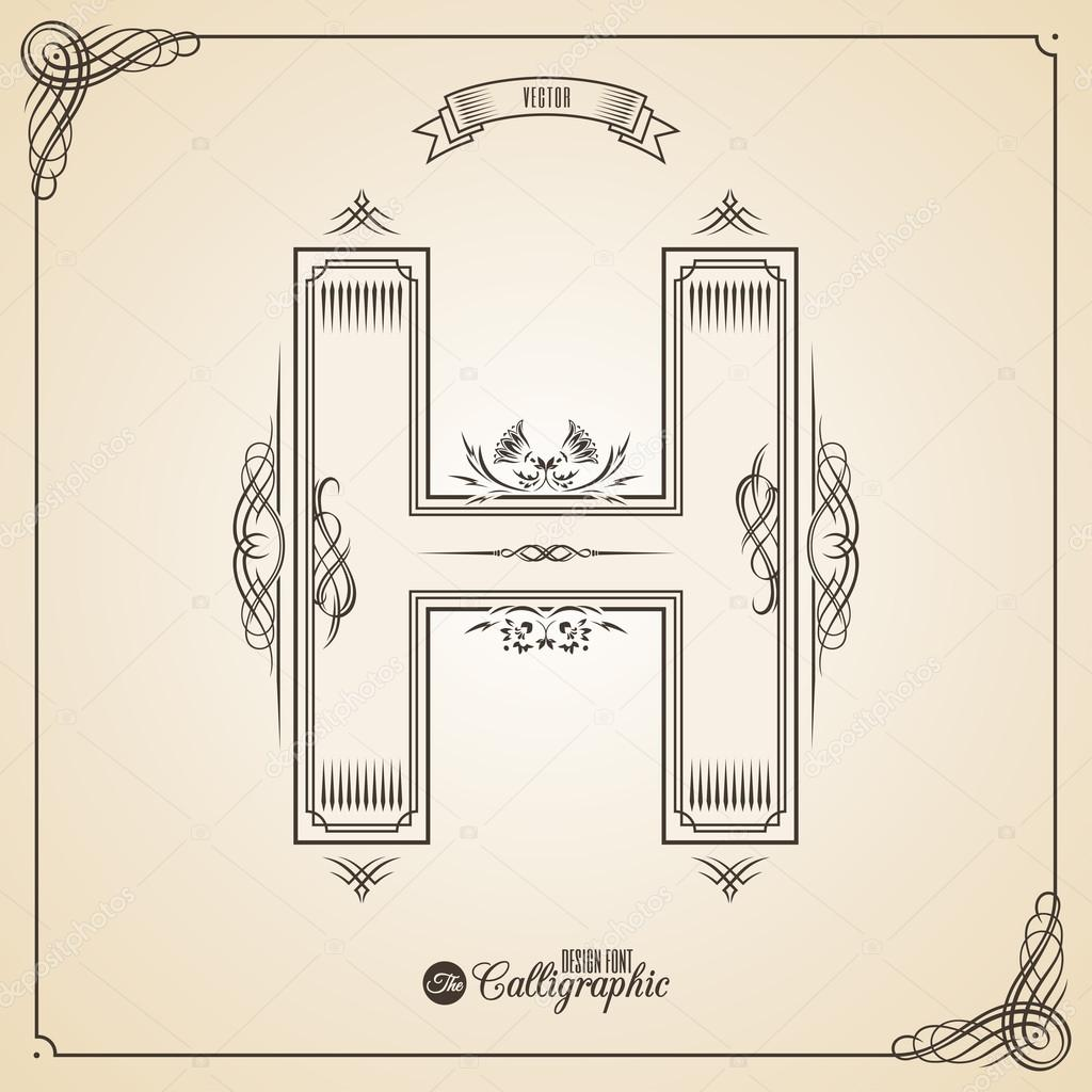Calligraphic fotn with border frame elements and invitation design calligraphic fotn with border frame elements and invitation design symbols collection of vector glyph stopboris Image collections