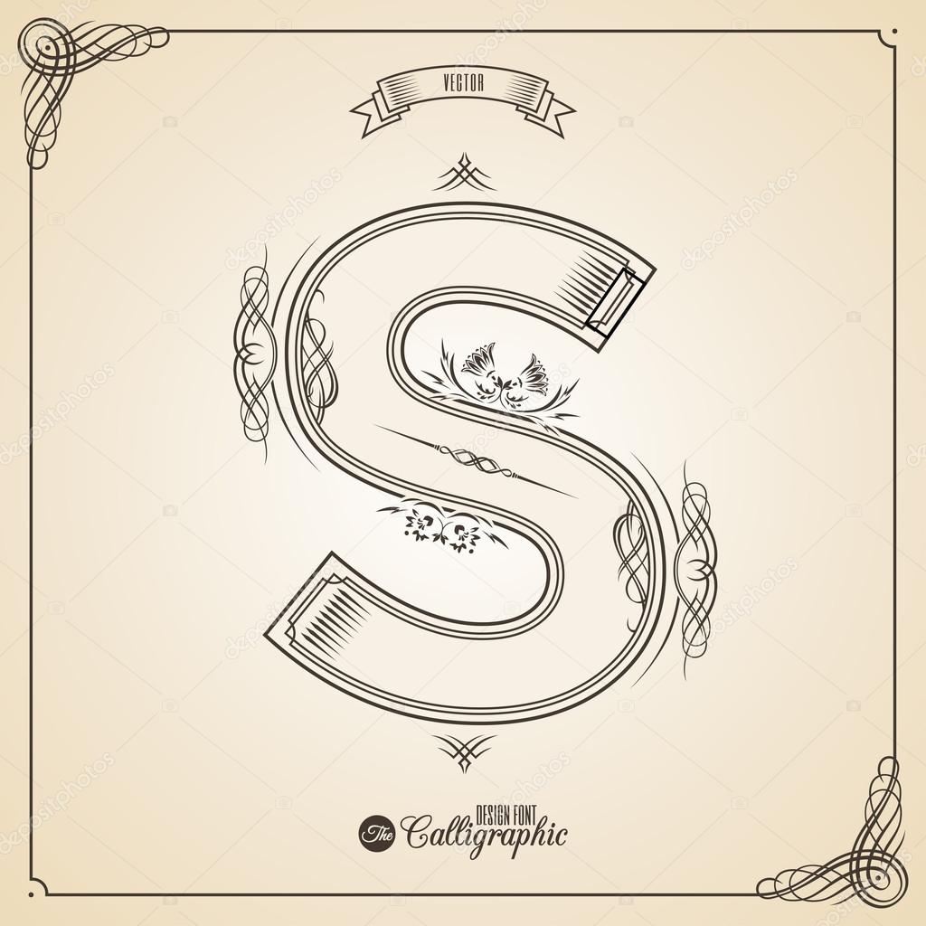 Calligraphic fotn with border frame elements and invitation design calligraphic fotn with border frame elements and invitation design symbols collection of vector glyph certificate and decor design elements stopboris Images