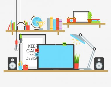 Working place of creative team in flat design over wooden table. Designer work