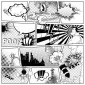 Fotografie Komiks šablona. Vektorové komiksových Retro řeči bubliny ilustrace. Model stránky s místem pro Text, Bubbls, symboly, zvukové efekty, barevné pozadí polotónů a superhrdina