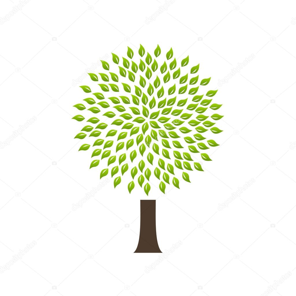 Modern infographic template. Light bulb with Green tree icon inside.