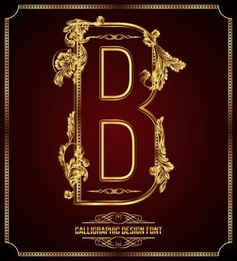 Calligraphic Design Font with Typographic Floral Elements. Premium design elements on dark background. Page Decoration. Retro Vector Gold Letter B