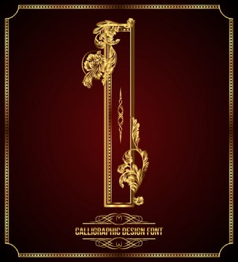 Calligraphic Design Font with Typographic Floral Elements. Premium design elements on dark background. Page Decoration. Retro Vector Gold Letter I