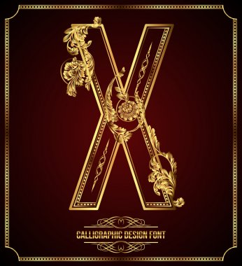 Calligraphic Design Font with Typographic Floral Elements. Premium design elements on dark background. Page Decoration. Retro Vector Gold Letter X