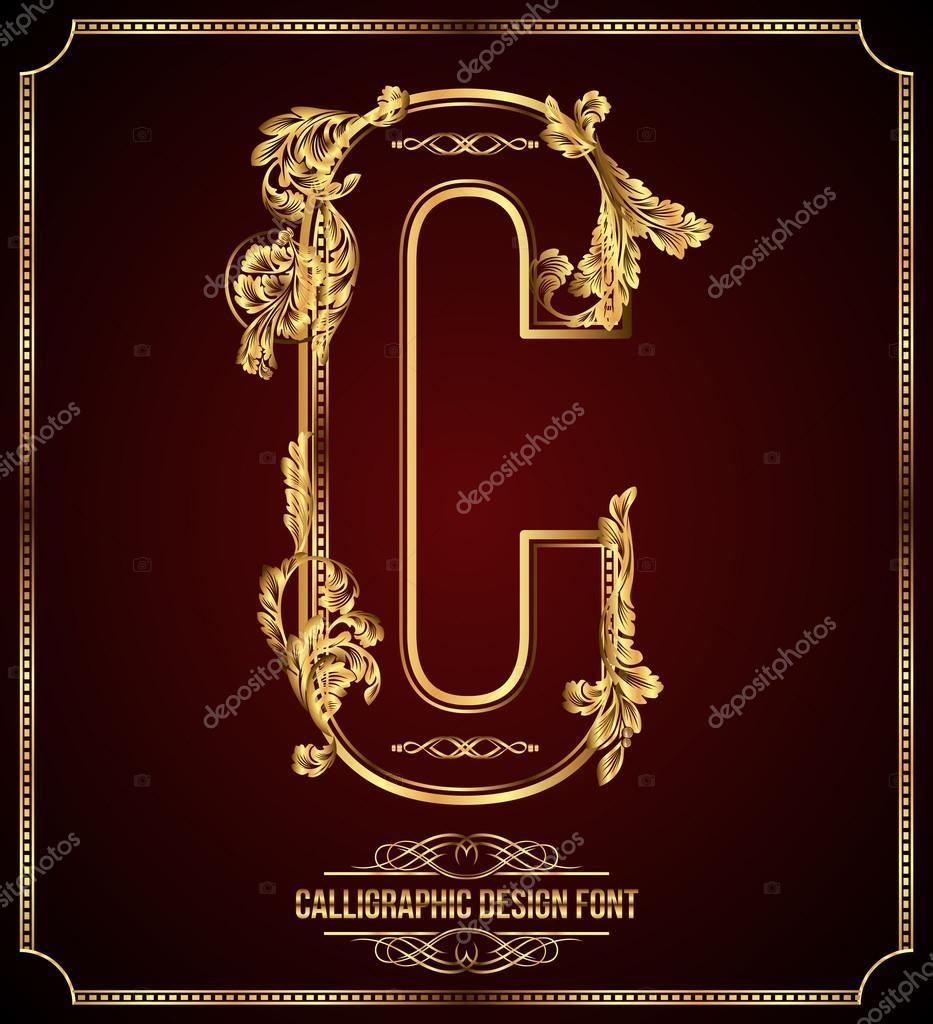 Calligraphic Design Font with Typographic Floral Elements. Premium design elements on dark background. Page Decoration. Retro Vector Gold Letter C