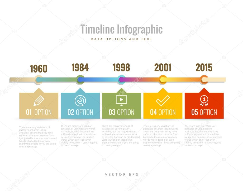Timeline Infographic with diagrams, data options and text