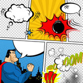 Photo Vector Retro Comic Book Speech Bubbles Illustration. Mock-up of Comic Book Page with place for Text, Speech Bubbls, Symbols, Sound Effects, Colored Halftone Background and Superhero