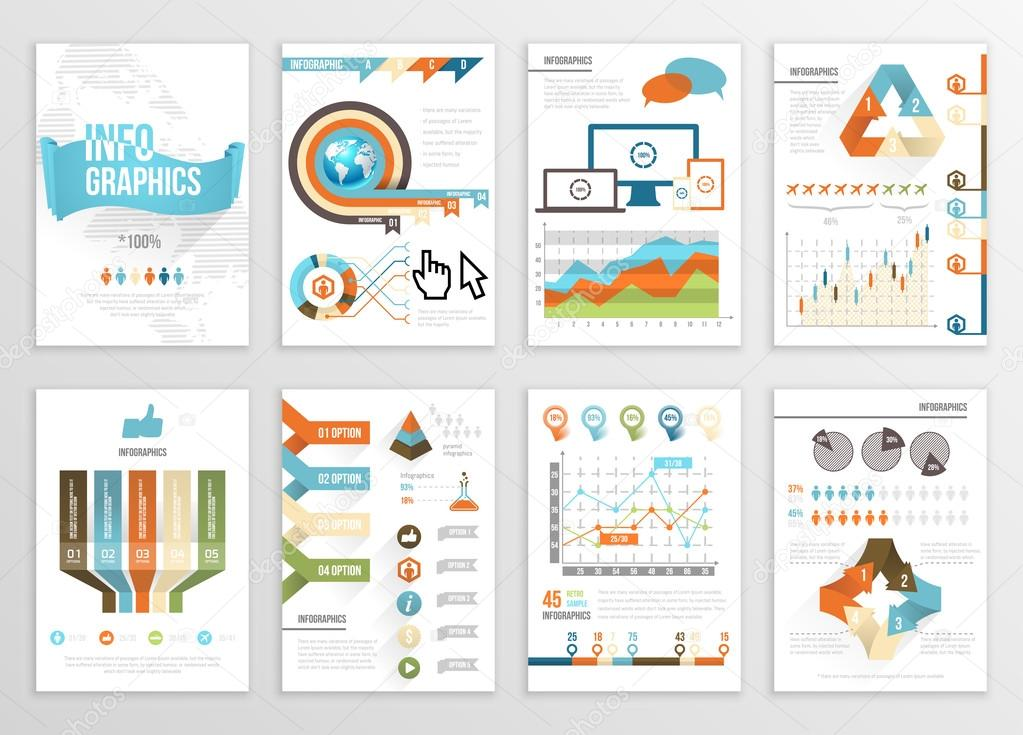 Big Set of Infographics Elements Business Illustrations, Flyer, Presentation. Modern Info Graphics and Social Media Marketing. Infographyc Pages Template