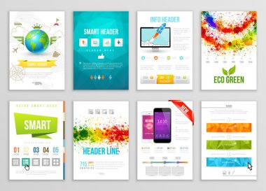 Set of Flyer, Brochure, Background, Banner Designs. Vector Poster Templates. Paint Splashes Abstract Background for Business Card