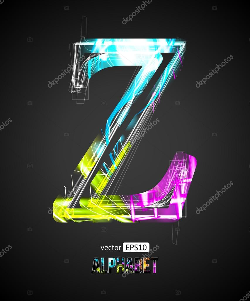 Vector Design Light Effect Alphabet  Letter Z on a Black