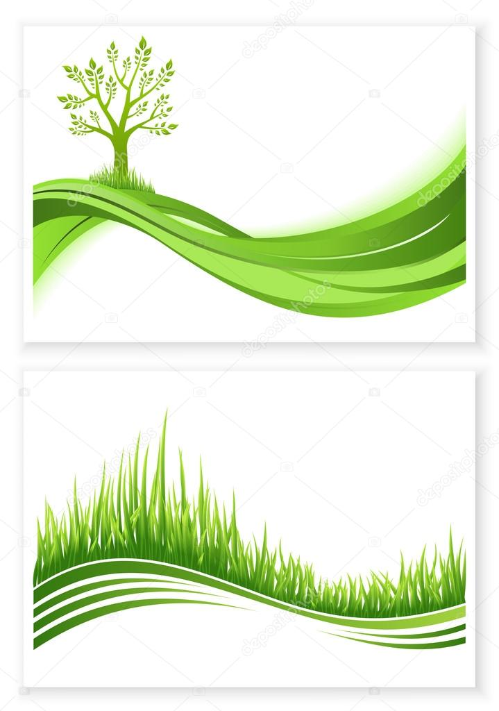 Set of green tree and grass growth vector eco concept. Nature background. Collection abstract illustrations with copyspace.
