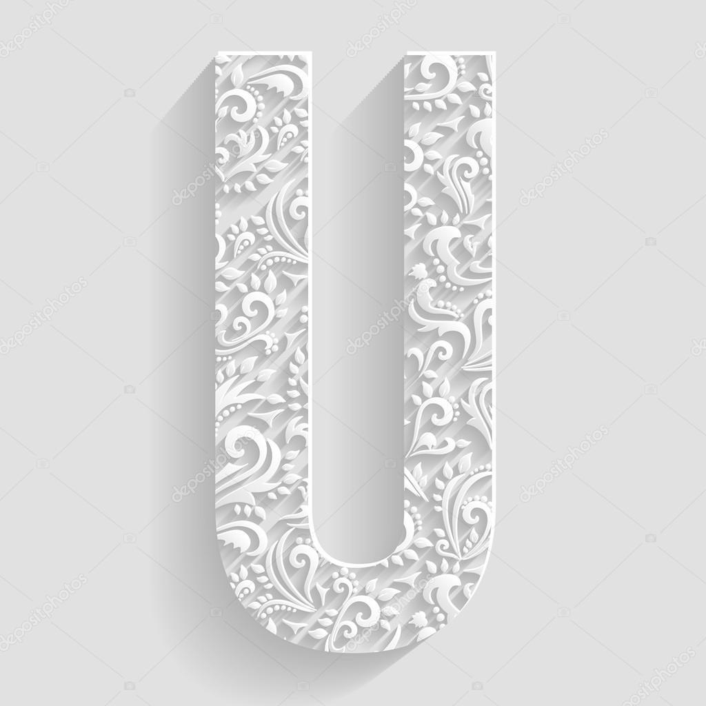 Letter U Vector Floral Invitation Cards Decorative Font Stock