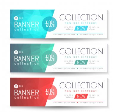 Vector Banner, Gift, Voucher Template. Clean Triangular Pattern