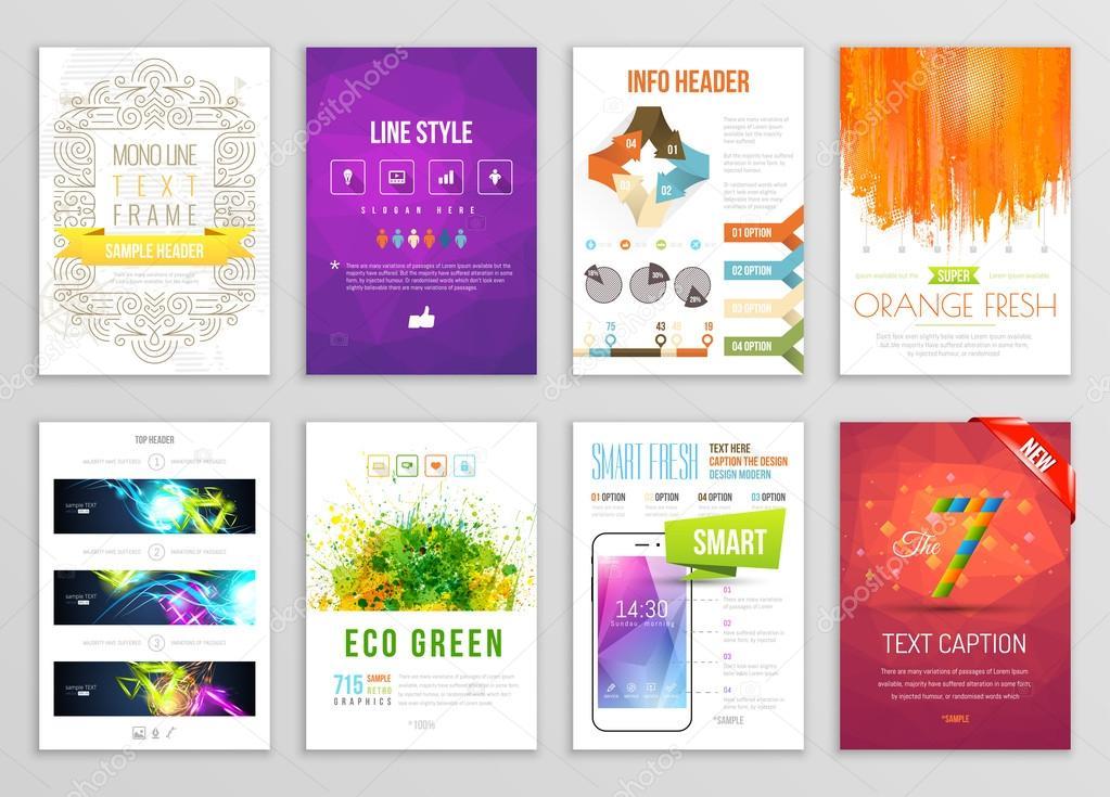 Ensemble De Flyer Brochure Fond Infographie Bannire Designs Vector Affiche Modles Peinture Claboussures Abstrait Pour Carte Visite