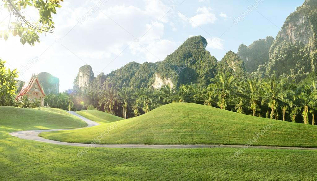 Panorama view of nice Green landscape and thai temple on the back