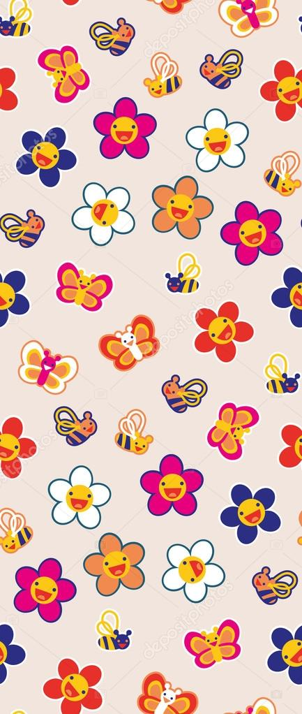 Seamless pattern with pretty flowers and bees.