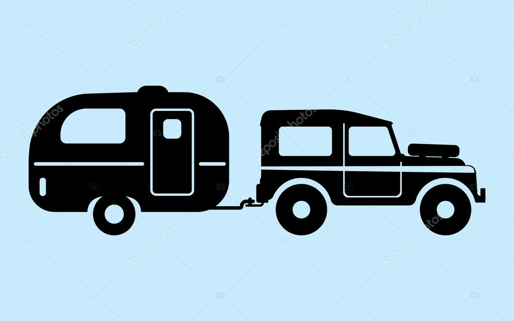 Camping Car Pulling Trailer Silhouettes Vector Illustration By Makc76