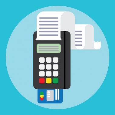Pos terminal in flat style. payment.
