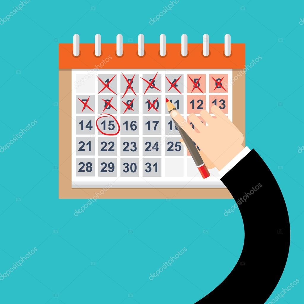 Marca Calendario.Marca De Manos De Empresario En El Calendario Vector Vector De