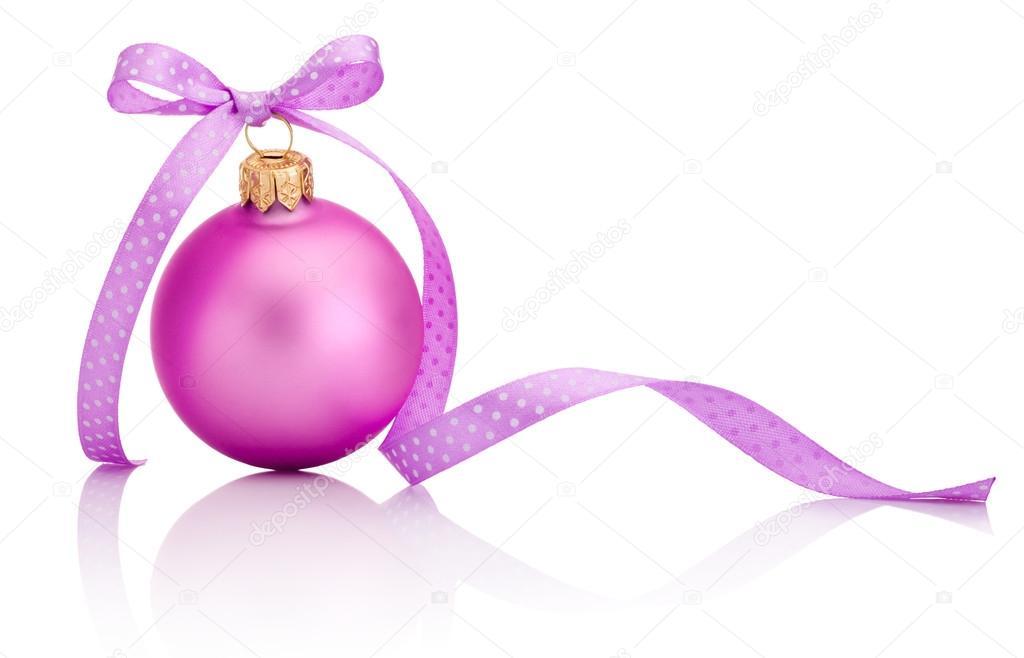 boule noel rose boule de Noël rose avec ruban bow isolé sur fond blanc  boule noel rose