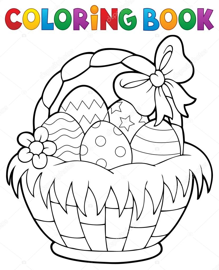 Para colorear tema de canasta de Pascua libro 1 — Archivo Imágenes ...