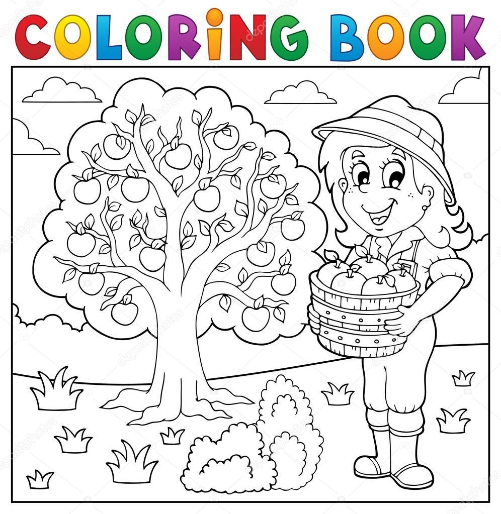 Chica de libro para colorear con las manzanas recogidas — Archivo ...