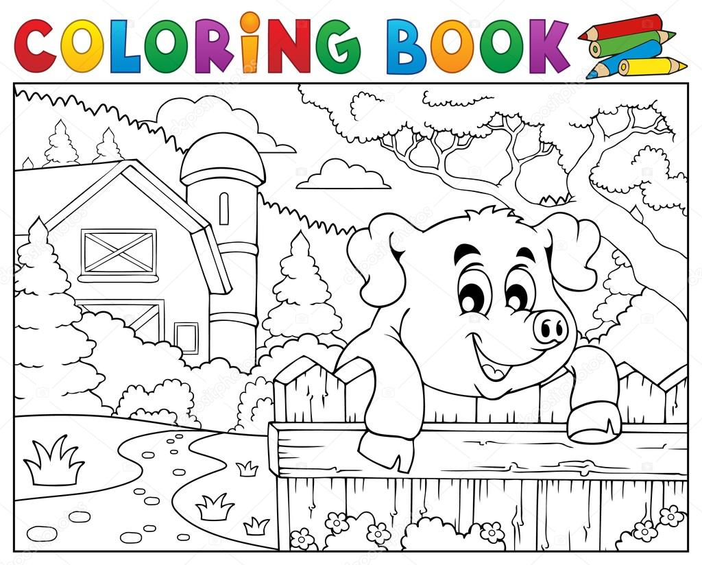 Pagine Da Colorare Di Maiali Download Disegni Di Maiali Da: Disegni Da Colorare Maiale Libro Dietro Il Recinto Vicino