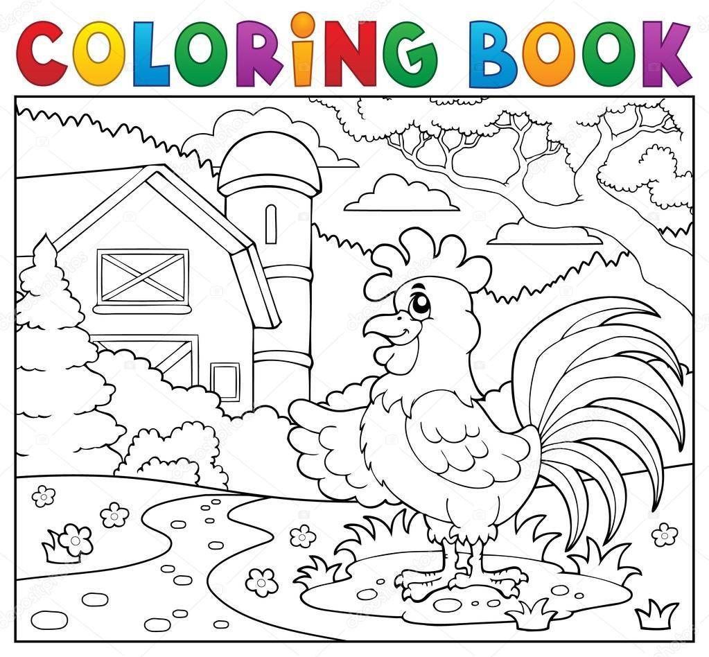 Gallo de libro para colorear junto a la granja — Archivo Imágenes ...
